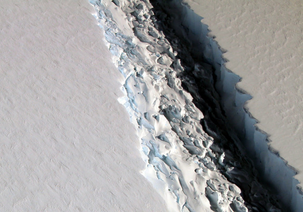 FILE PHOTO: This Nov. 10, 2016 aerial photo released by NASA, shows a rift in the Antarctic Peninsula's Larsen C ice shelf.