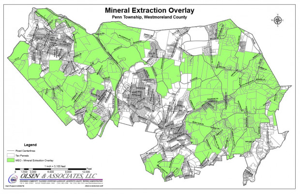 Protect PT is challenging Penn Township's zoning ordinance, which allows drilling in the green areas of the map.