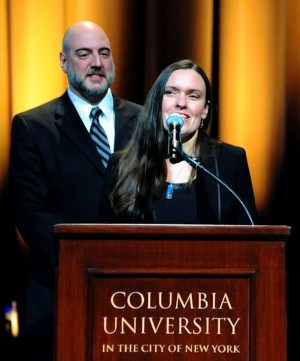 News director Tim Lambert of witf looks on as reporter Susan Phillips of WHYY accepts the Alfred I. duPont-Columbia Award Jan. 22 in New York.