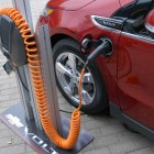 A Chevy Volt gets a charge in Austin.