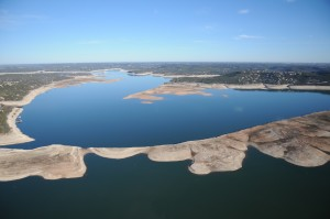 The extreme drought and 2011 releases to farmers lowered levels in Lakes Buchanan and Travis (pictured) in Central Texas.