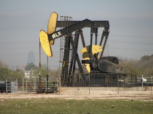 Pump jack in Pierce Junction oilfield south of downtown Houston