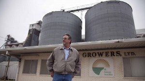 Joe Crane in front of his rice drying and storgage plant in Bay City, Texas.