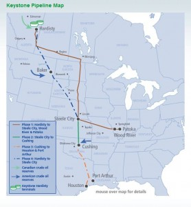 Click here to see a larger version of a map showing the original Keystone XL pipeline route.