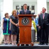 Governor Rick Perry speaks at the unveiling of the remodeled Texas Governor's Mansion on July 18, 2012.