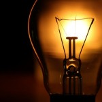 An electric light bulb shines 31 May 200