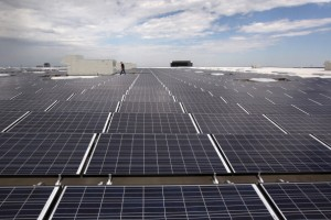 A worker walks amid a field of solar panels atop an Ikea home furnishings store on July 26, 2011 in Centennial, Colorado.