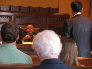 Jefferson County Court at Law Judge Tom Rugg listens to arguments in the property rights case earlier this month.