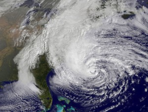 In this handout GOES satellite image provided by NASA, Hurricane Sandy, pictured at 1410 UTC, churns off the east coast on October 28, 2012 in the Atlantic Ocean.