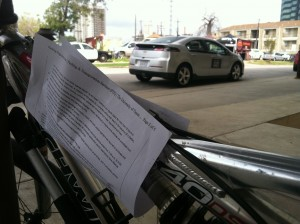Warning were attached to bikes locked up outside SXSW Eco today, saying the bikes could be impounded.