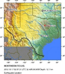 A map shows the location of the latest earthquake in the Barnett Shale drilling area.