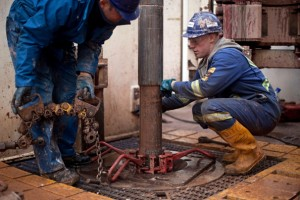 Engineers on the drilling platform of the Cuadrilla shale fracking facility on October 7, 2012 in Preston, England.