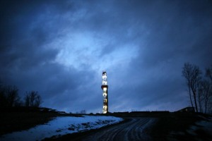 A Cabot Oil and Gas natural gas drill is viewed at a hydraulic fracturing site on January 17, 2012 in Springville, Pennsylvania.