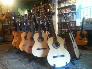 Guitars at the Fiddlers Green music shop.