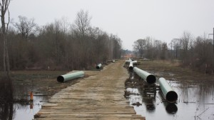 The Keystone XL pipeline under construction in East Texas in the Spring of 2013.
