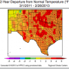 This map shows that temperature have been warmer than normal over the last two years in Texas.