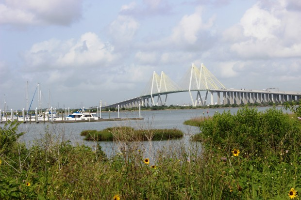 "The ""Centennial Gate"" would be built parallel to the Fred Hartman Bridge that crosses the Houston Ship Channel"