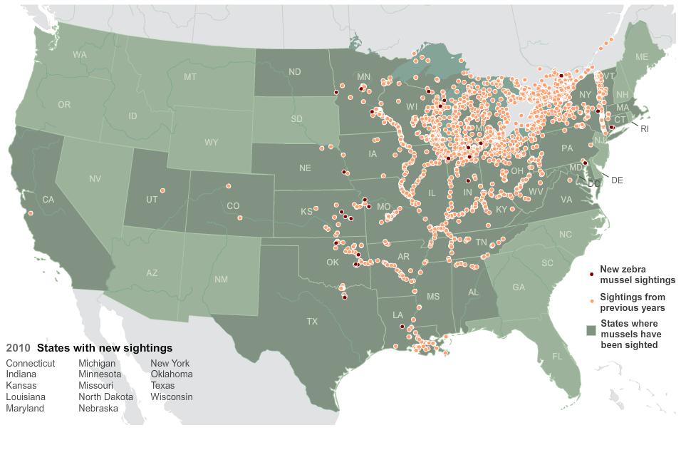 Zebra mussels invasive species map
