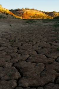 view of the dry bed of the E.V. Spence Reservoir in Robert Lee, Texas October 28, 2011.