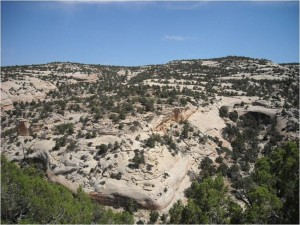 Rock outcroppings in Utah that researchers say are bleached white by hydrocarbons