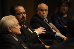 Rep. Rene Oliveira, second from left, attending a forum on eminent domain at the Texas Tribune Festival 2012. Oliveira filed a bill to overhaul eminent domain in Texas this year.