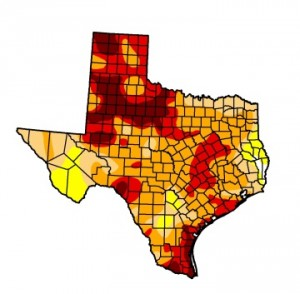 The most recent Texas drought map released by the US drought monitor on Tuesday.
