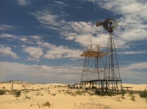 An old windmill at Monahans Sand Hills State Park.