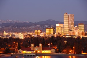 The Denver, Colorado skyline in January 2012. Denver, located on the dry side of the Continental Divide, has instituted a number of programs to encourage water conservation.
