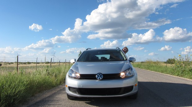 Reporter Mose Buchele drives through a wind farm in West Texas.
