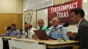 StateImpact Texas reporter Terrence Henry moderates a panel on the impacts of the drilling boom in West Texas in Odessa Tuesday, with (left to right) Kirk Edwards, Libby Campbell, W. Hoxie Smith, Gil Van De Venter, and Paul Weatherby.