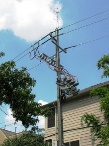 Power pole in Houston equipped with antenna to allow remotely controlled switching