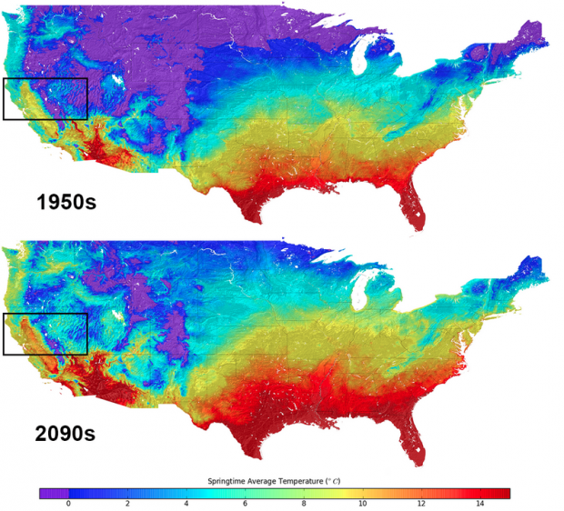 NASA data contrasts average Spring temperatures for the 1950s and 2090s.