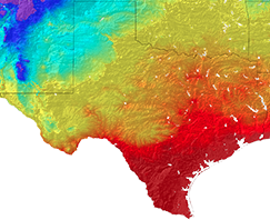 Closer view of Texas' average spring temperature in the 1950s.