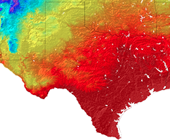 Closer view of Texas' projected Spring temperature in the 2090s.