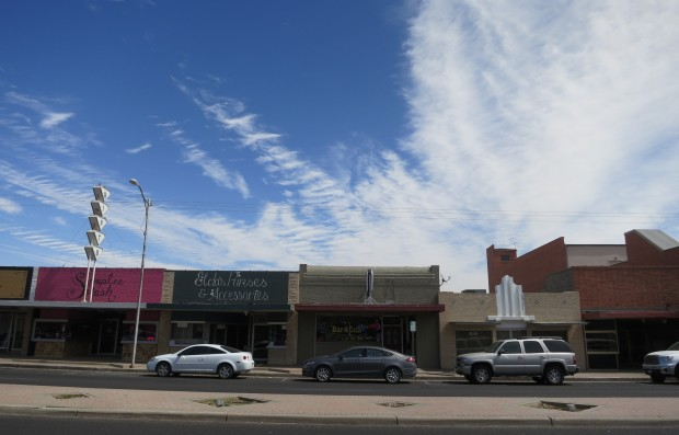 Downtown Odessa Texas, despite having a roaring hot economy, some storefronts remain empty in the oil-rich Permian Basin.
