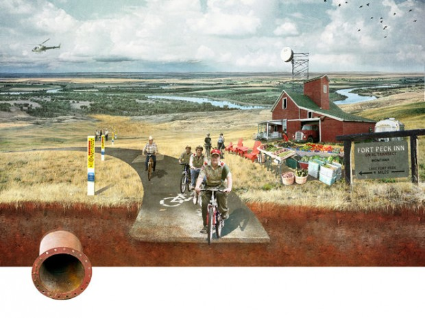 The idea from SWA group imagines boy scout troops biking happily along while diluted bitumen flows underneath them.