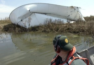 Hurricane Ike in 2008 buckled this petroleum storage tank south of Beaumont