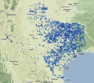 Texas has more dams than any other state in the country. This is a map of Texas dams from the USACE.