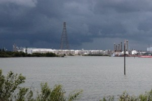 Tanks along the Houston Ship Channel can be 200 feet wide and seven stories high