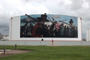 Petrochemical tanks in Deer Park are used for mural depicted Battle of San Jacinto which took place nearby