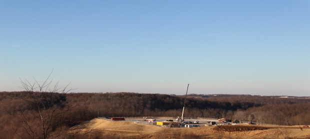 A Chesapeake Energy natural gas drilling site near Steubenville, Ohio.