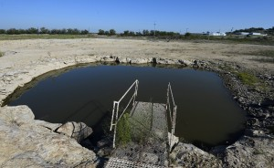 A small pool of water is all that remains in a portion of Bridgeport Lake in September 2013.