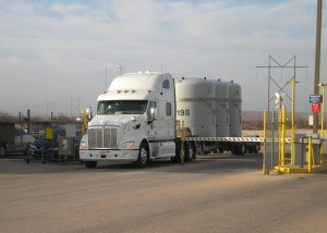 The first in a series of radioactive waste shipments arrives in Andrews County on Wednesday, April 2.