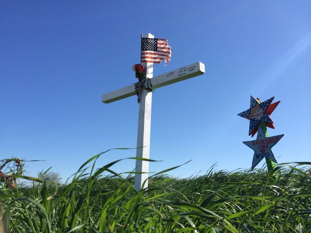 Memorials near the site of the explosion in the town of West, Texas.
