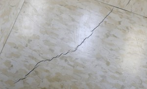 Cracks have developed in the floor and wall of the municipal courtroom in Reno, Texas, as seen Feb. 21, 2014, and some people believe it is related to the rash of earthquakes in the area.