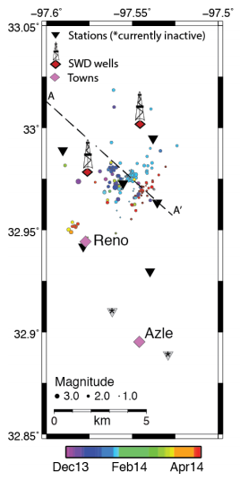 "From the SMU progress report: ""Preliminary earthquakes locations near  Reno-Azle using the current seismic  network. Events are scaled by magnitude  and color coded by time of event. Two Salt  Water Disposal Wells (SWD wells) that  occur within a few kms of the earthquake  sequence are shown."""