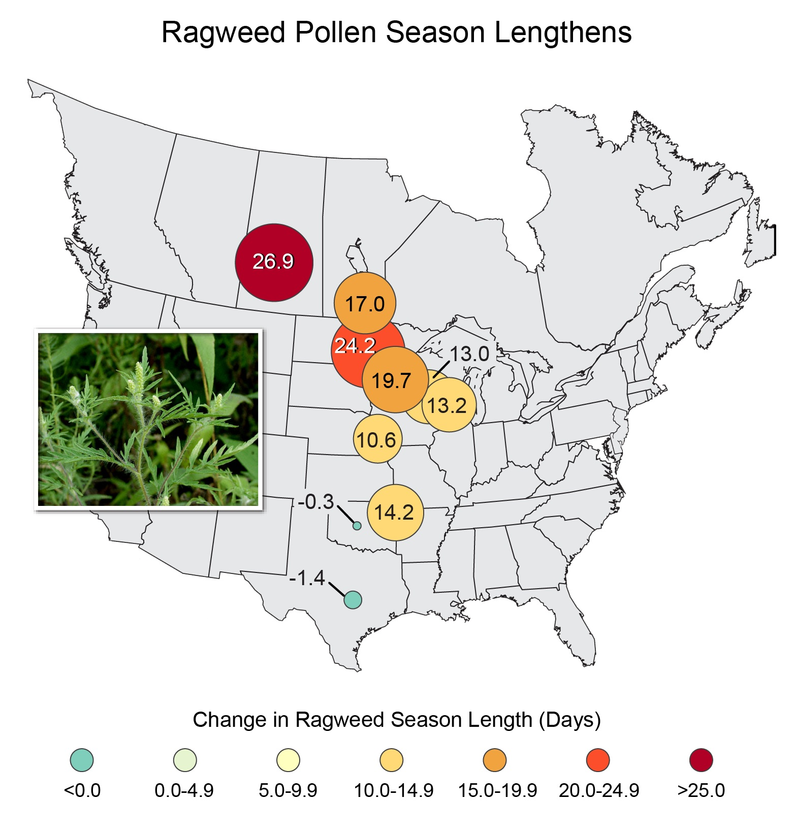map shows for how long ragweed pollen season has changed from 1995 to 2005