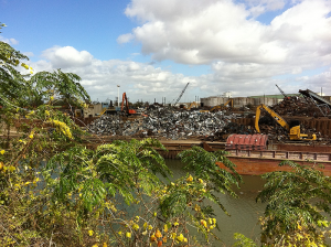 Metal shredding facility along bayou in East End.