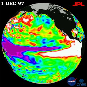 This satellite image shows ocean topography, a good indicator of ocean temperature, during the 1997098 El Niño. The weather phenomenon is characterized by warm water in the Eastern Pacific and cool water in the West.