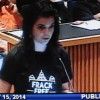 Kelli Barr speaking at public hearing in Denton